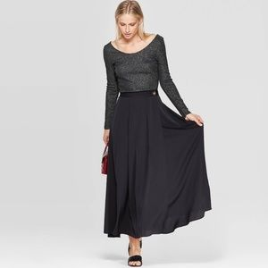 Who What Wear Satin Wrap Skirt